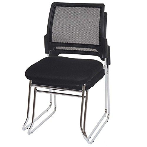 2x Konferenzstuhl Beveren, Besucherstuhl stapelbar, Textil ~ Rückenlehne schwarz - 1