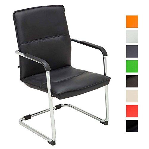 CLP Freischwinger-Stuhl mit Armlehne SEATTLE, Besucherstuhl / Konferenzstuhl mit gepolsterter Sitzfläche, FARBWAHL schwarz - 1