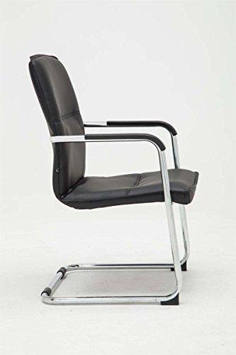 CLP Freischwinger-Stuhl mit Armlehne SEATTLE, Besucherstuhl / Konferenzstuhl mit gepolsterter Sitzfläche, FARBWAHL schwarz - 3