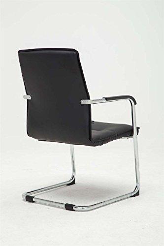 CLP Freischwinger-Stuhl mit Armlehne SEATTLE, Besucherstuhl / Konferenzstuhl mit gepolsterter Sitzfläche, FARBWAHL schwarz - 4