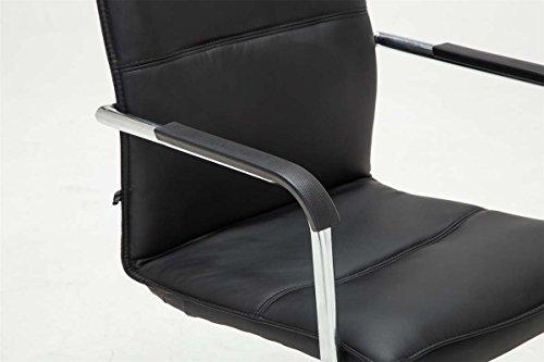 CLP Freischwinger-Stuhl mit Armlehne SEATTLE, Besucherstuhl / Konferenzstuhl mit gepolsterter Sitzfläche, FARBWAHL schwarz - 6