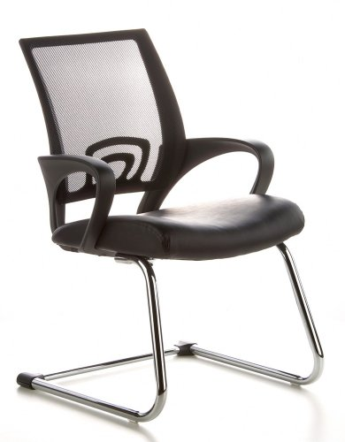 Konferenzstuhl / Freischwinger / Stuhl VISTO NET V Netzstoff schwarz Chrom hjh OFFICE - 1