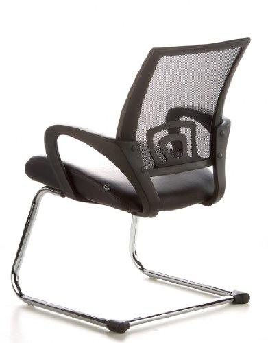 Konferenzstuhl / Freischwinger / Stuhl VISTO NET V Netzstoff schwarz Chrom hjh OFFICE - 10