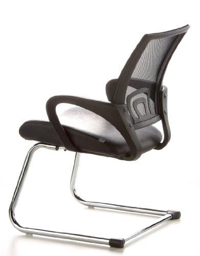 Konferenzstuhl / Freischwinger / Stuhl VISTO NET V Netzstoff schwarz Chrom hjh OFFICE - 11