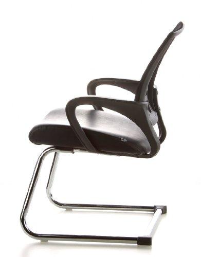 Konferenzstuhl / Freischwinger / Stuhl VISTO NET V Netzstoff schwarz Chrom hjh OFFICE - 12