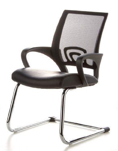 Konferenzstuhl / Freischwinger / Stuhl VISTO NET V Netzstoff schwarz Chrom hjh OFFICE - 15