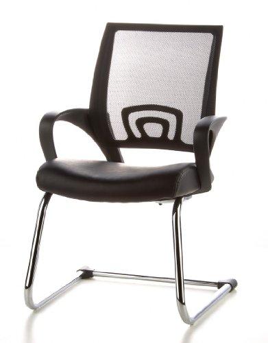 Konferenzstuhl / Freischwinger / Stuhl VISTO NET V Netzstoff schwarz Chrom hjh OFFICE - 16