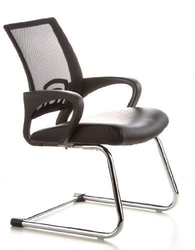 Konferenzstuhl / Freischwinger / Stuhl VISTO NET V Netzstoff schwarz Chrom hjh OFFICE - 2