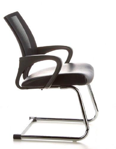 Konferenzstuhl / Freischwinger / Stuhl VISTO NET V Netzstoff schwarz Chrom hjh OFFICE - 3
