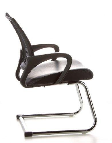Konferenzstuhl / Freischwinger / Stuhl VISTO NET V Netzstoff schwarz Chrom hjh OFFICE - 4