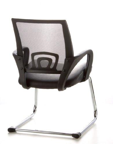 Konferenzstuhl / Freischwinger / Stuhl VISTO NET V Netzstoff schwarz Chrom hjh OFFICE - 7