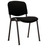 M24 387 Stapelstuhl Visi, 81 x 54 x 55 cm, Gestell pulverbeschichtetes Stahlrohr, Sitzpolster, stapelbar bis 18 Stück, Sitz und Rückenlehne gepolstert, schwarz - 1