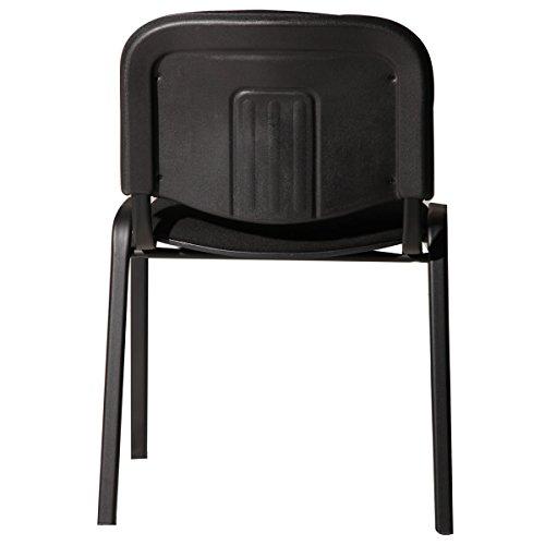 M24 387 Stapelstuhl Visi, 81 x 54 x 55 cm, Gestell pulverbeschichtetes Stahlrohr, Sitzpolster, stapelbar bis 18 Stück, Sitz und Rückenlehne gepolstert, schwarz - 3