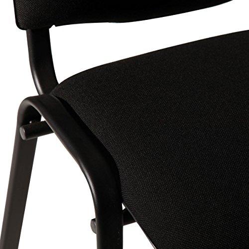 M24 387 Stapelstuhl Visi, 81 x 54 x 55 cm, Gestell pulverbeschichtetes Stahlrohr, Sitzpolster, stapelbar bis 18 Stück, Sitz und Rückenlehne gepolstert, schwarz - 5